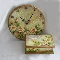 decoupage - box and clock set