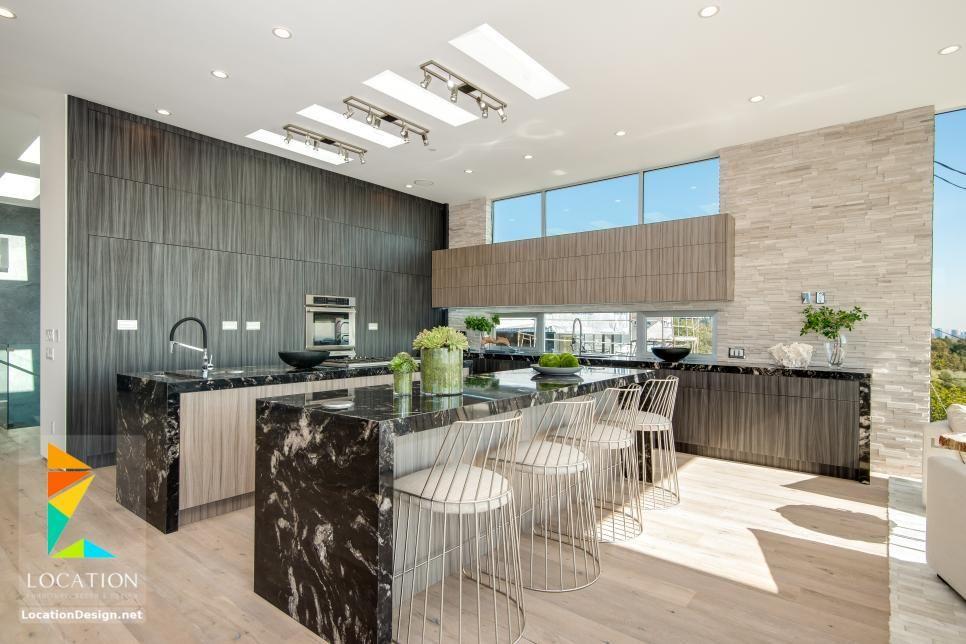 كولكشن مطابخ مفتوحه على الصاله للشقق الحديثة لوكشين ديزين نت Mansion Interior Kitchen Designs Layout Contemporary Kitchen