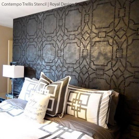 Bedroom Ceiling Decorating Ideas 1 Bedroom Apartment Decorating Hot Bedroom Wallpaper Contemporary Bedroom Wall Art: Contempo Trellis Wall Stencil