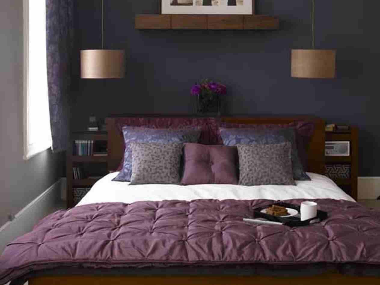 Purple And Dark Grey Bedroom Bedroom Brow White Wooden Bedside