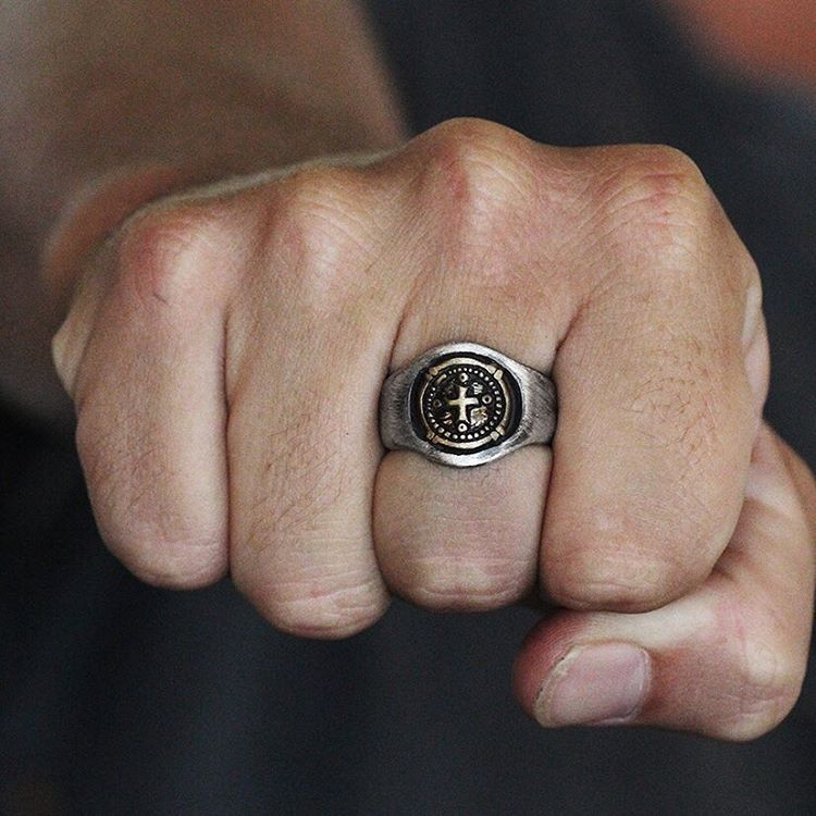 mens ring silver and gold antique cool signet ring carpe
