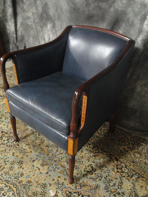 Hancock Amp Moore Leather Side Chair With Mahogany Inlay