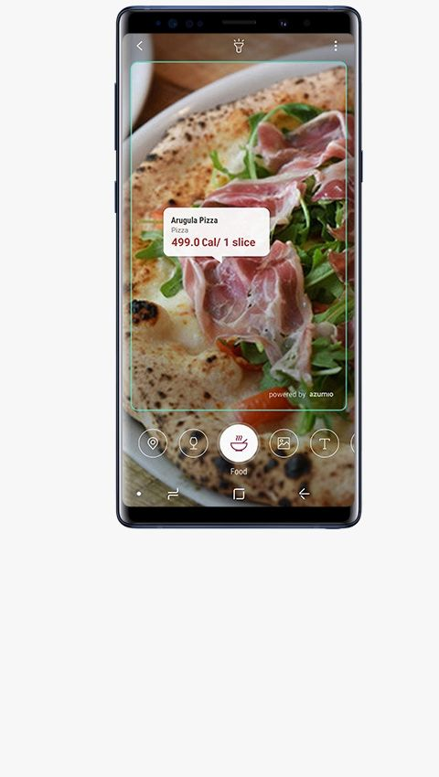The image of Galaxy Note9 Ocean Blue scanning food with