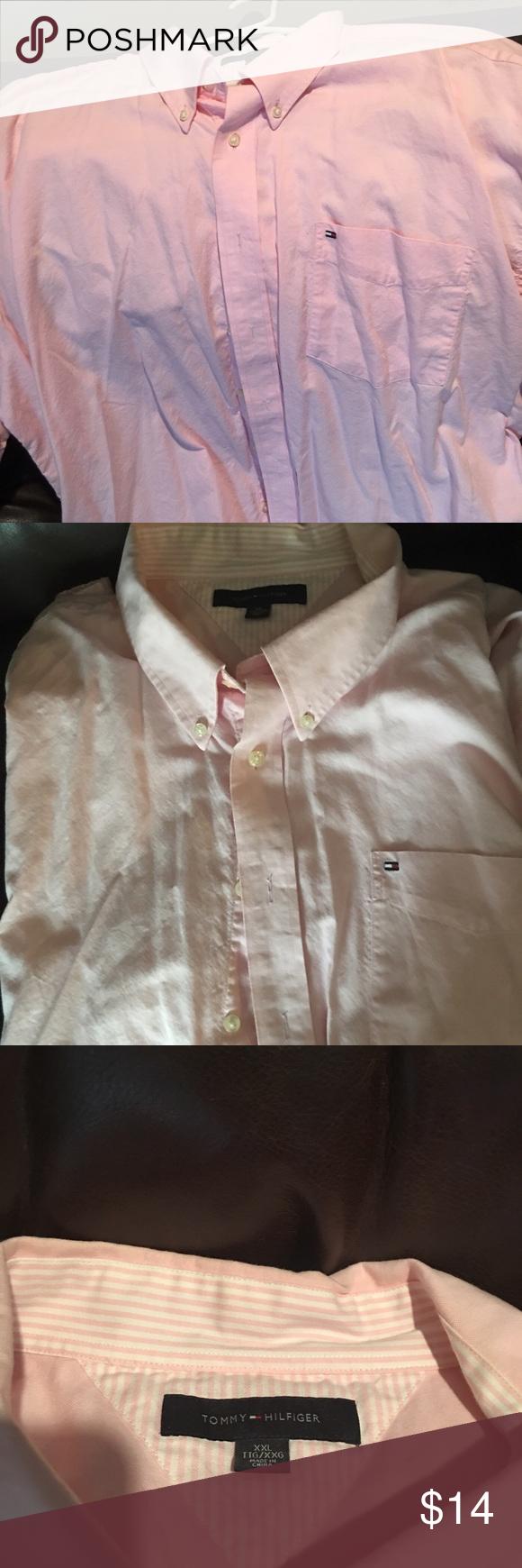 TOMMY HILFIGER pink button up short sleeve. TOMMY HILFIGER pink button up short sleeve.Men's 2XL Tommy Hilfiger Shirts Polos