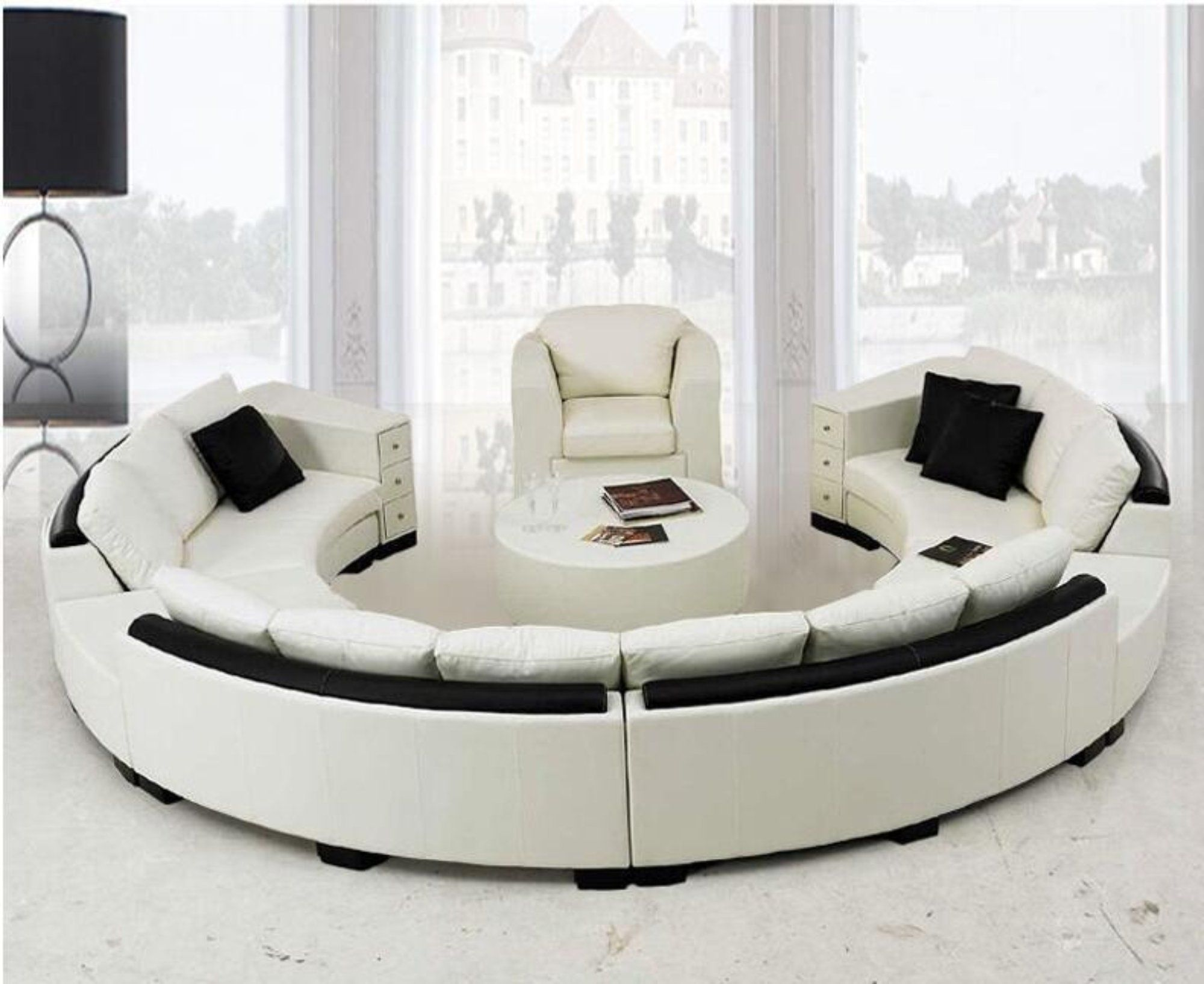 Modern Curved Top Grain Round Leather Sofa Living Room Leather Sofa Living Room Genuine Leather Sofa Living Room Sofa
