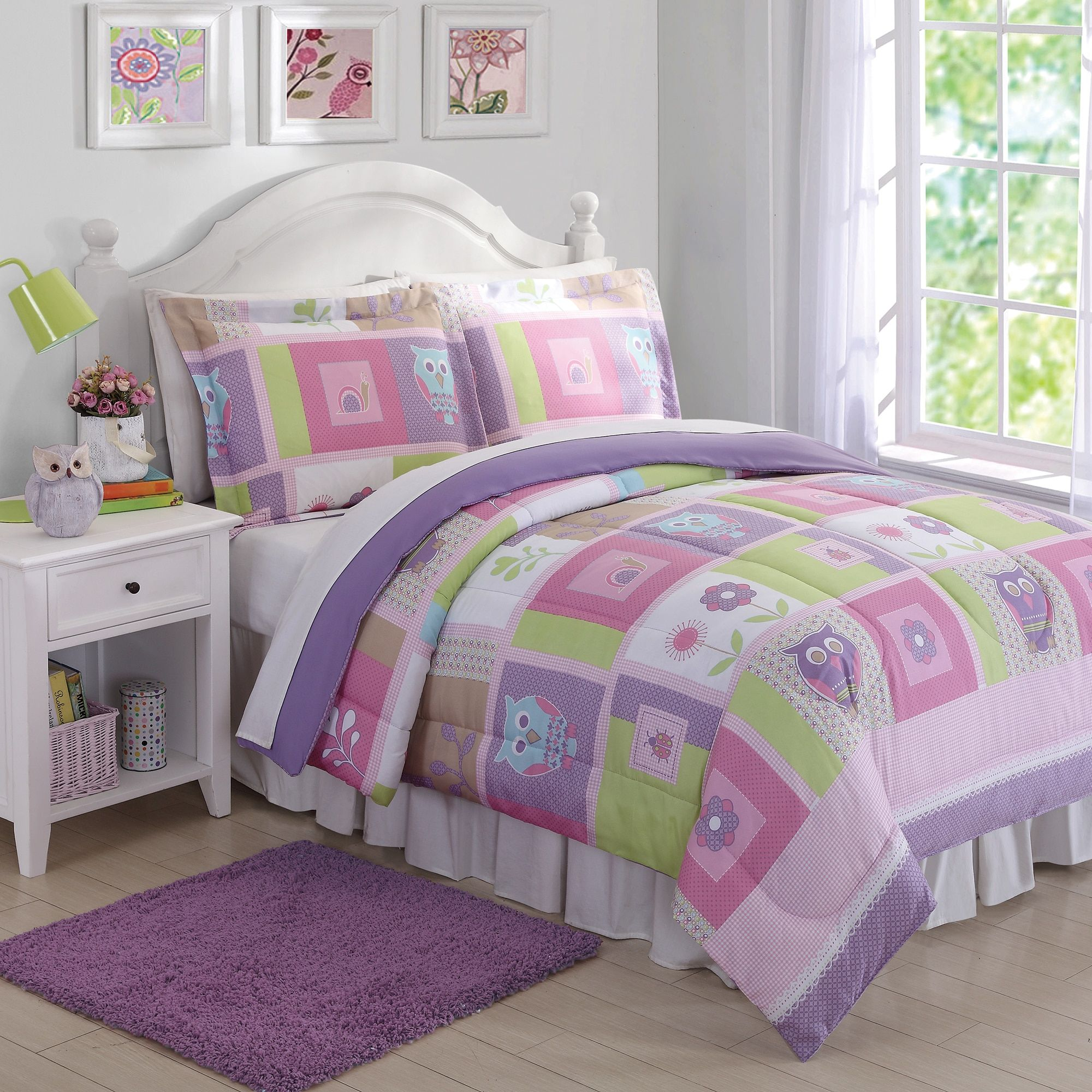 purple intelligent free product set coverlet adley bath quilt today shipping overstock design printed piece bedding
