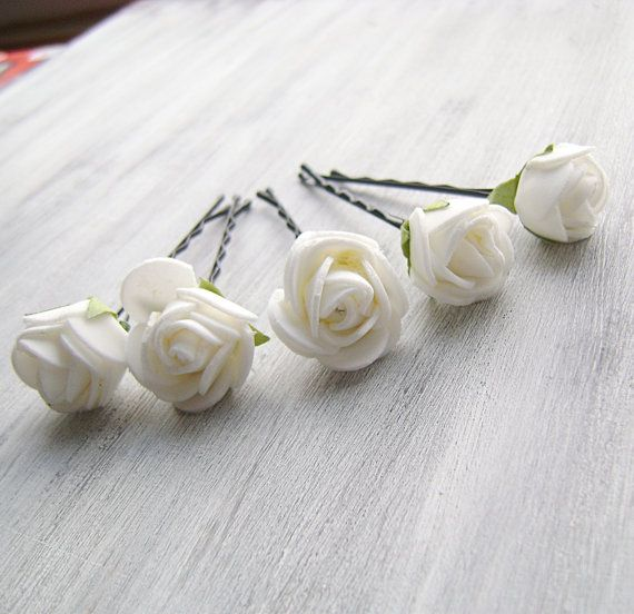 White Flowers Bobby Pins, Roses Bridal Hair Pins, Woodland, Bridal ...