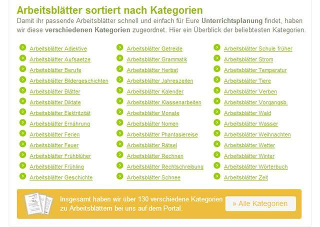Auf der gut strukturierten Website Grundschule Arbeitsblätter finden ...