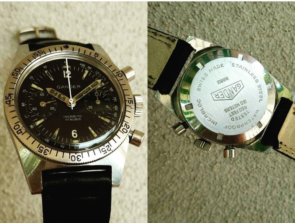 FS: Vintage Gander Chrono Diver Plongee valjoux 92 Black dial *PIC*