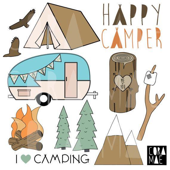 Happy Camper Clipart 12 PNG Files Transparent Background 300 Dpi Instant Download