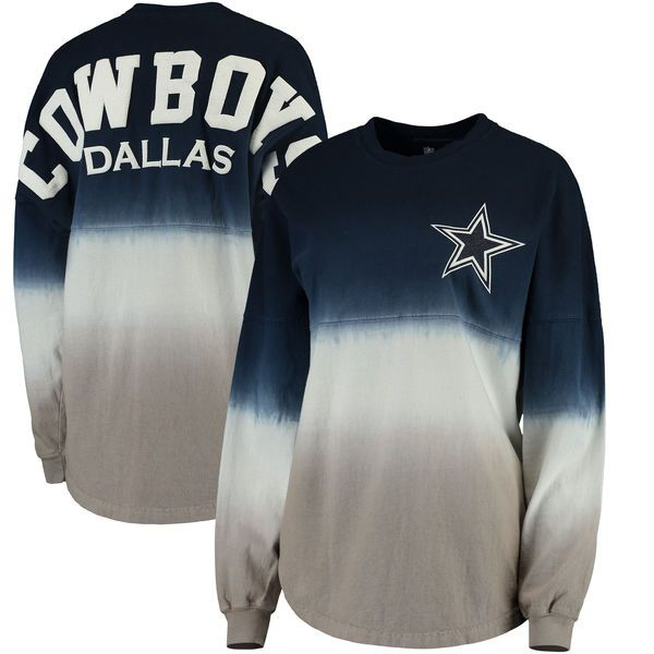 Women s Dallas Cowboys NFL Pro Line by Fanatics Branded Navy Silver Spirit  Jersey Long Sleeve T-Shirt 1 8e1800d8d