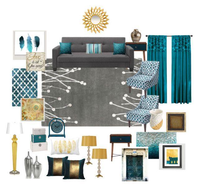 Teal, grey, gold living room