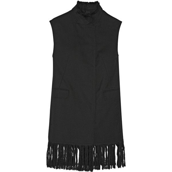 3.1 Phillip Lim Fringed wool vest (5.695 VEF) via Polyvore featuring outerwear, vests, black, black waistcoat, woolen vest, fringe vest, 3.1 phillip lim y zipper vest