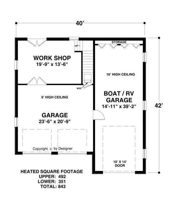 Rv Garage With Living Quarters: Lower Level Floorplan Image Of Boat-RV Garage House Plan