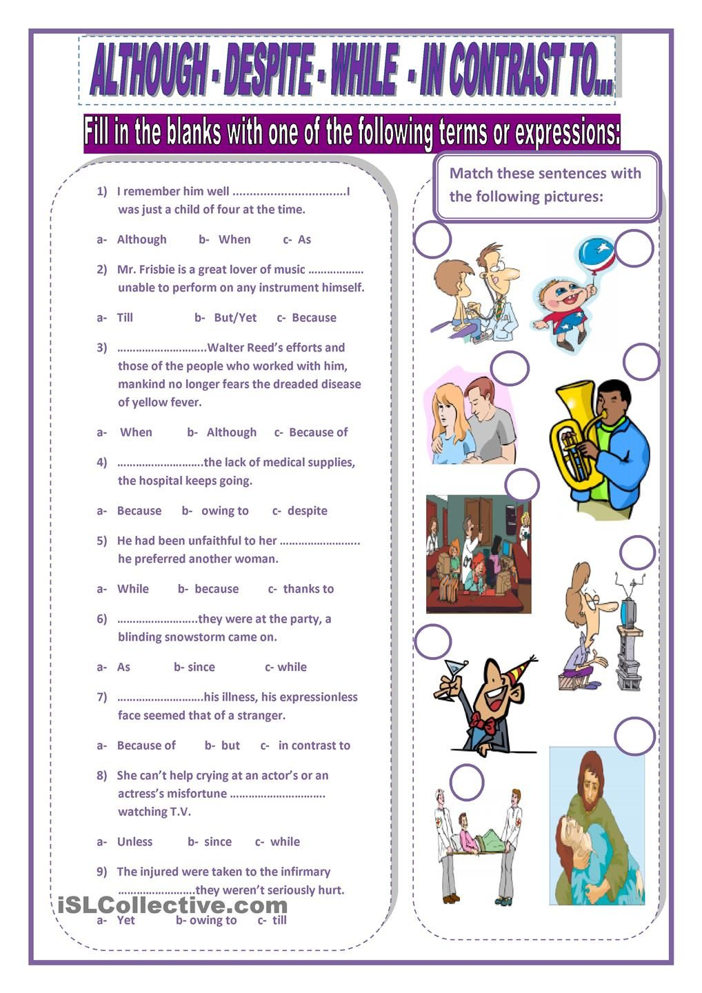 Although Despite While In Contrast To Linking Words Conjunctions Activities English Teaching Materials