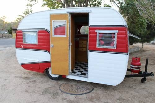 Vintage 1956 DeVille Travel Trailer Camper RESTORED Red And White Super Cute
