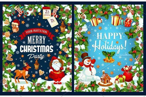 Merry Christmas holidays vector greeting card Calendar Templates