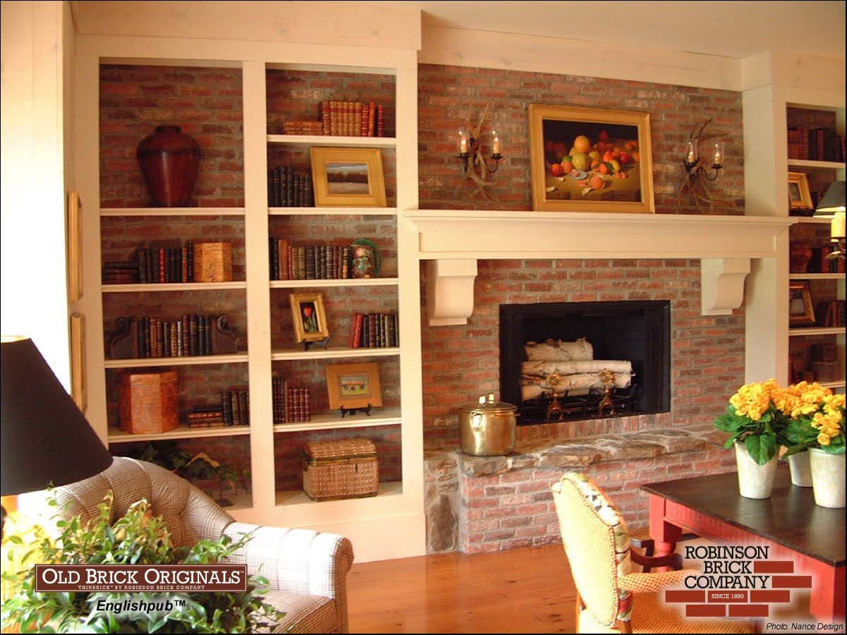 Brick Fireplace Bookshelves