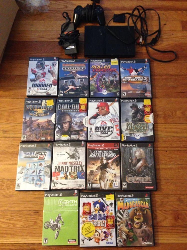 Sony PlayStation 2 Slim Console System Bundle + 15 Games