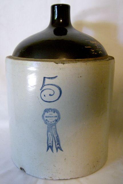 Antique 1900 1930 S Buckeye Pottery 5 Gallon Jug Blue