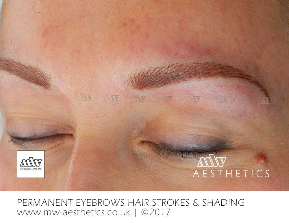 Permanent Eyebrows Tattoo Picture Taken Straight After The