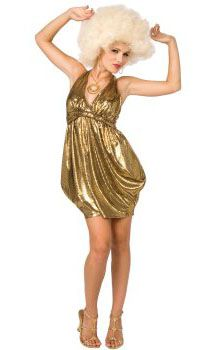 Disco Costume Adult 70s Diva Gold Dress Halloween Fancy Dress