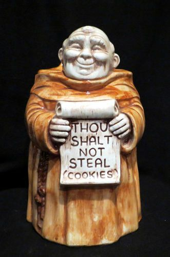 Thou Shalt Not Steal Cookies Monk Cookie Jar made by Treasure Craft.   I have one just like this...LA