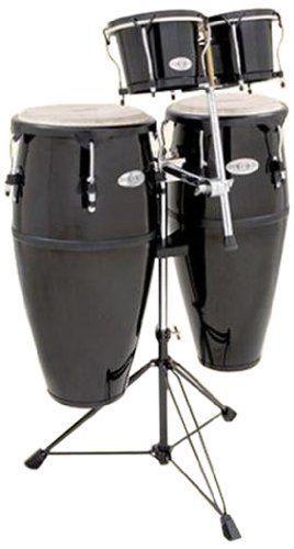 toca synergy 2300 fbk k black fiberglass conga set w bongo stand drums for sale congas. Black Bedroom Furniture Sets. Home Design Ideas