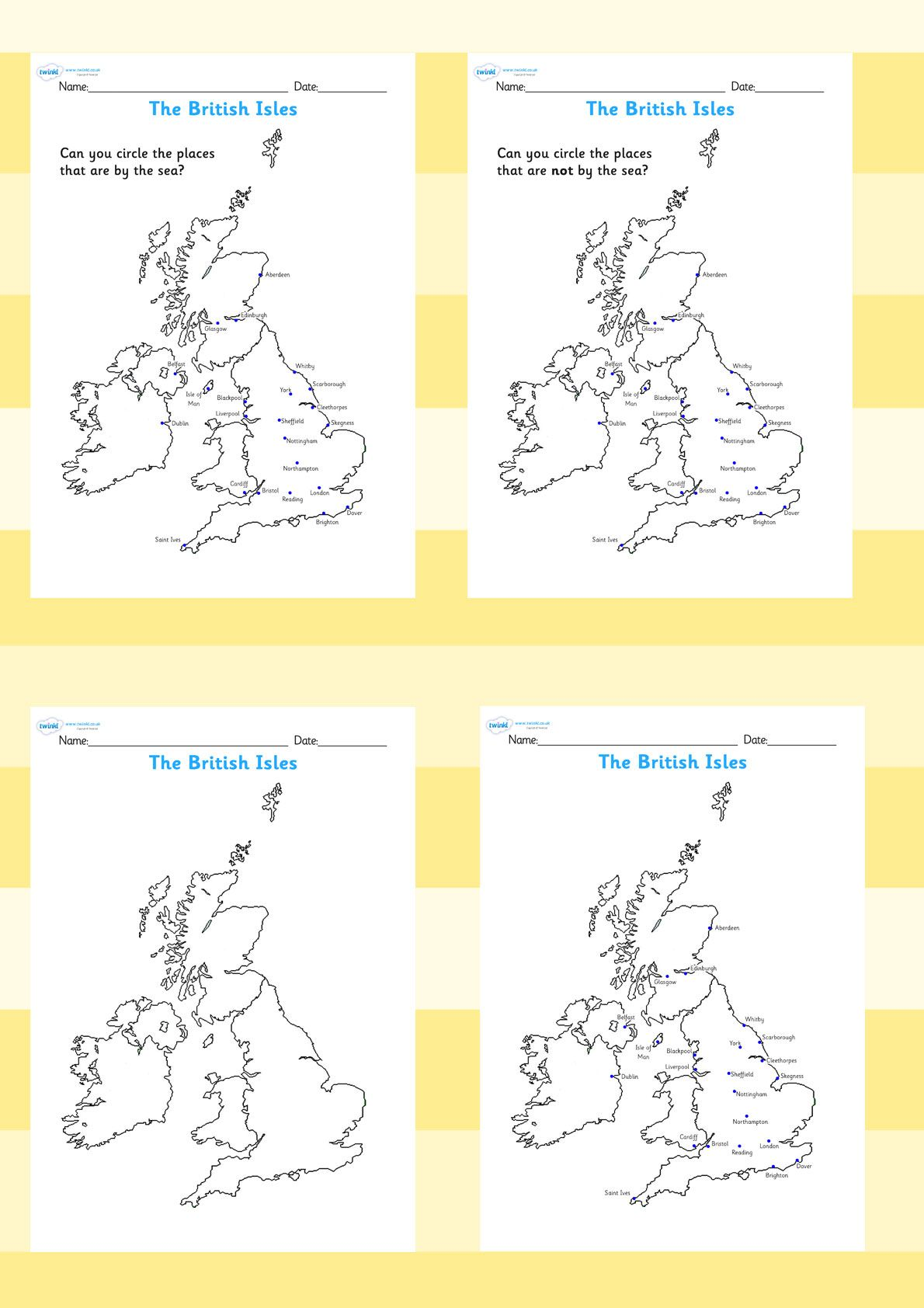 The Seaside The British Isles Seasides Map Worksheets