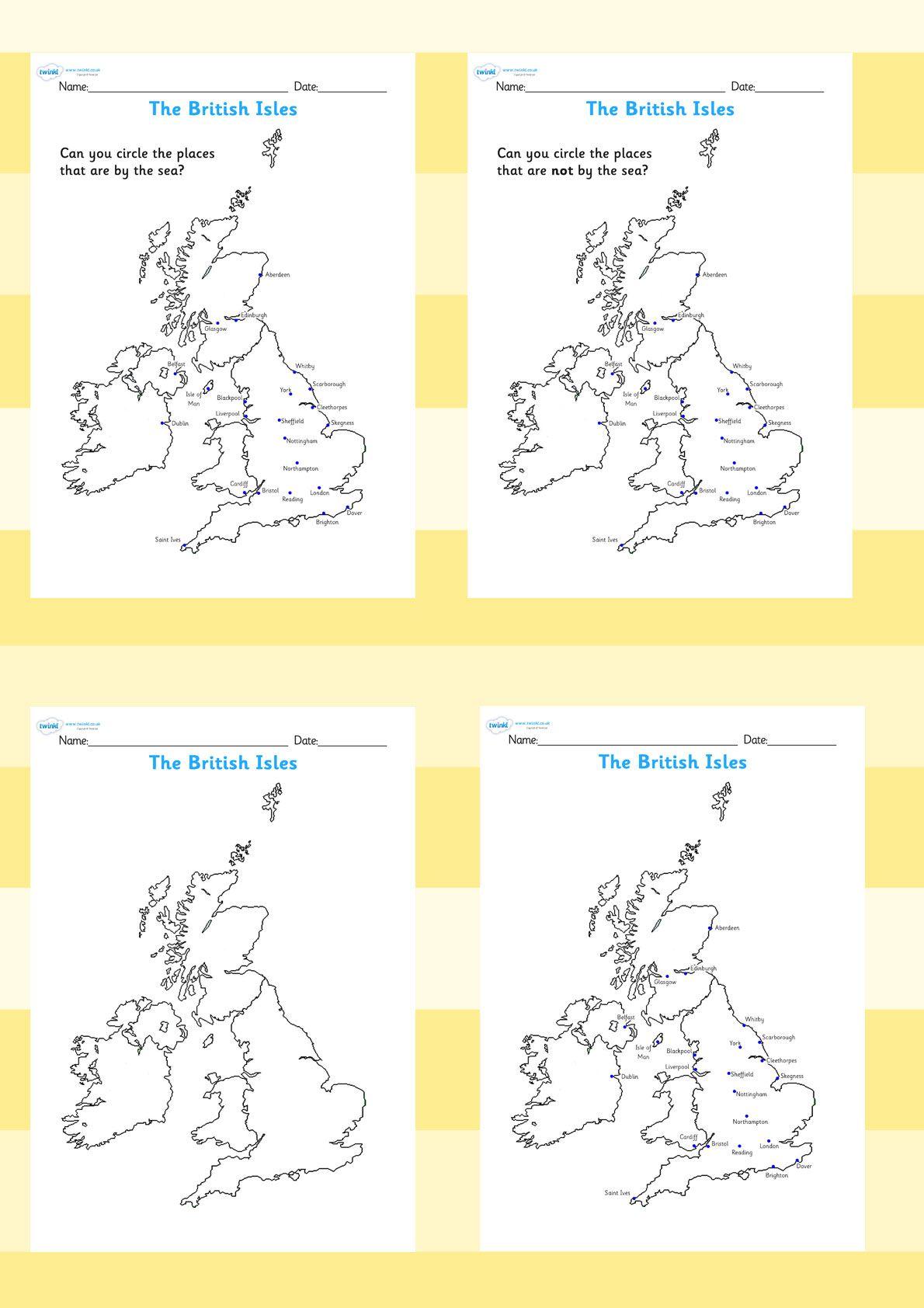 The Seaside The British Isles Seasides Map Worksheets