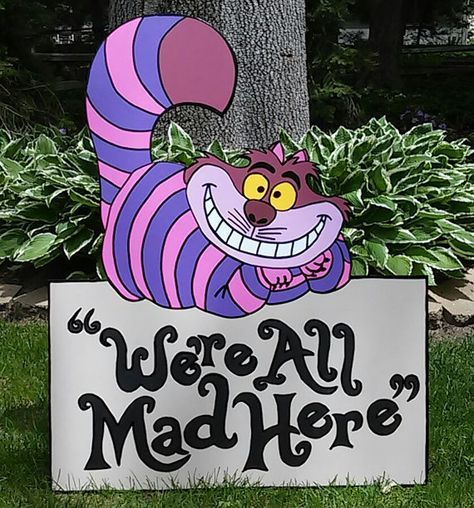 FOAMBOARD - CHESHIRE Cat with WAMH Sign - Inspired by Alice in Wonderland - Mad Hatter Tea Party - Large Party Props & Event Decoration