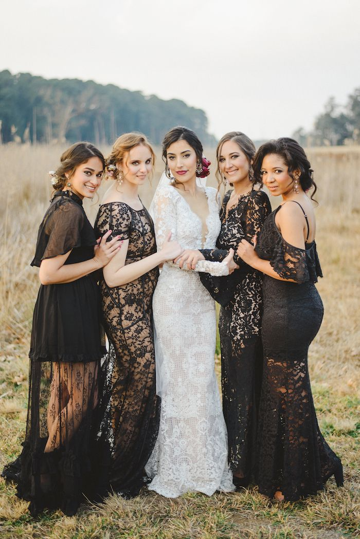 Black Lace Bridesmaid Dresses Credit Roxanne Davison