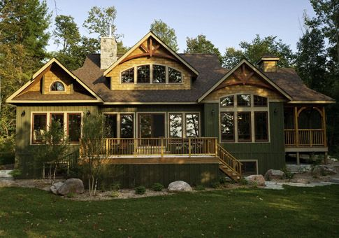Red leaves home plan curved timber details in gables for 2500 sq ft log home plans