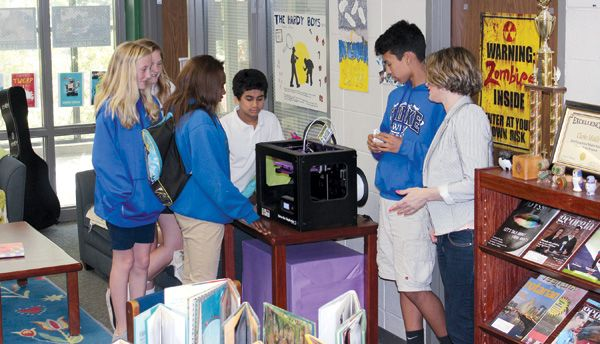 Students at Clarke Middle School, Athens, GA, with the school library's 3-