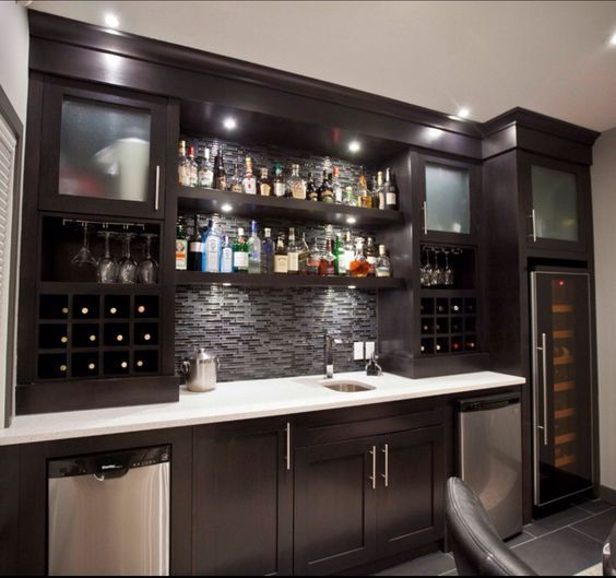 Contemporary Home Bar Design Ideas: Basement Bar- Conceptual- Would Need Glass Sliding Doors