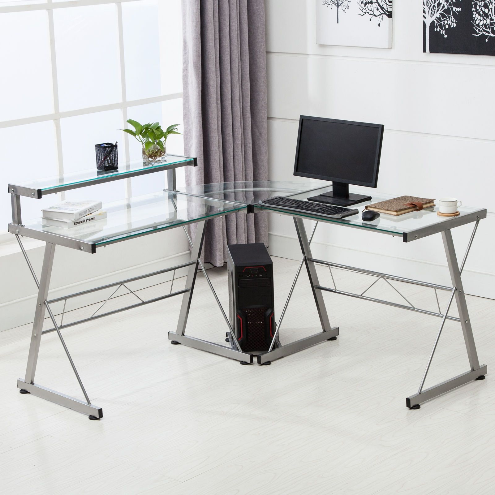 - Pin By Annora On Round End Table Computer Desk With Shelves