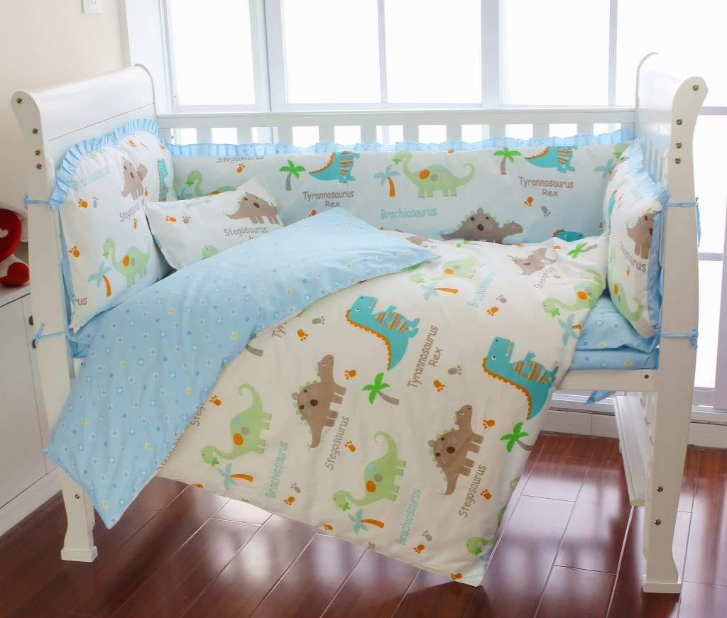 Dinosaur Baby Bedding Aussiebuby Baby Bedding Crib Cot Sets 9 Piece Cute Dinosaurs Theme With Images Baby Dinosaur Nursery Dinosaur Crib Bedding Baby Bedding Sets