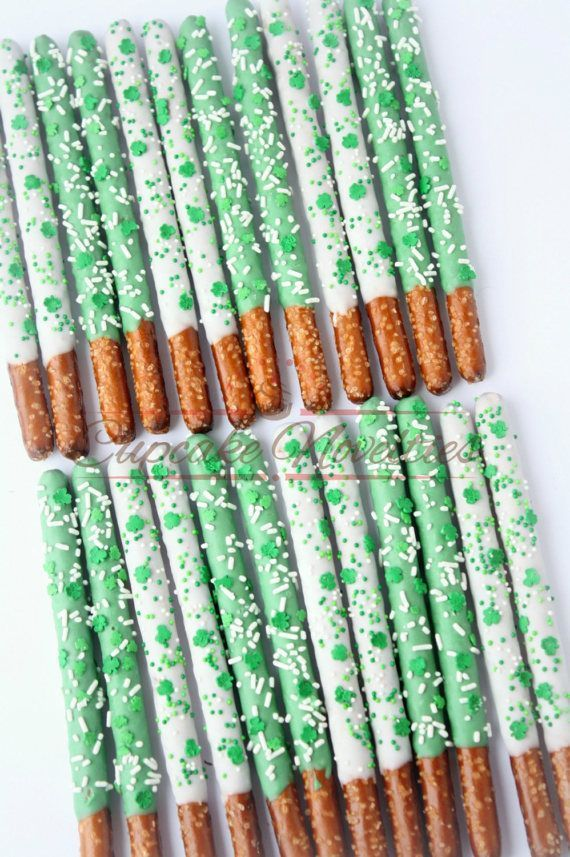St Patricks Day Cookies St Patricks Day Party Favors Chocolate Pretzels Shamrock Cookies Leprechaun Green White Party Irish Wedding Favors