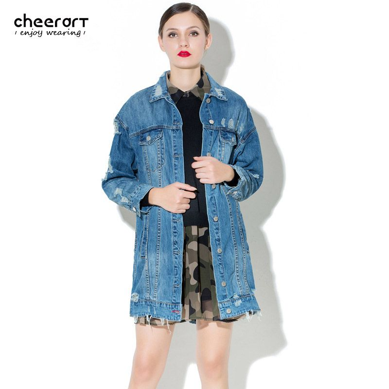 Cheerart 2017 Ripped Long Denim Jacket Women Plus Size Cotton Blue  Oversized Jeans Jackets And Coat d9baebb694