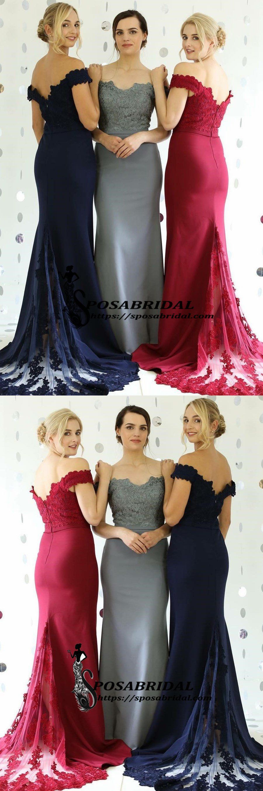 Navy grey red off shoulder mermaid cheap modest bridesmaid dresses