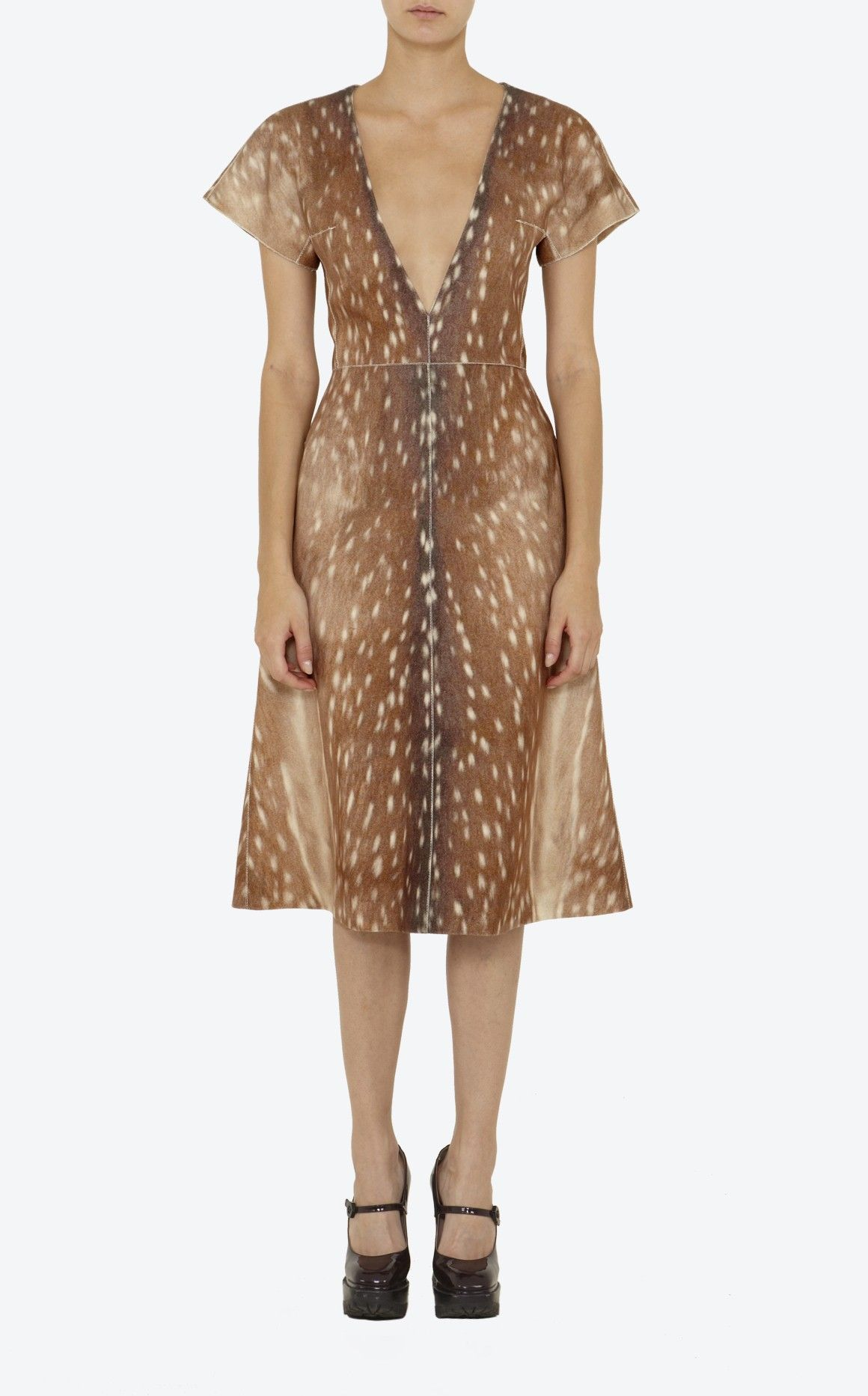 """Love this! Carven """"Bambi"""" print woollen dress, deep V neck, short pagoda sleeves, middle back zip fastening"""