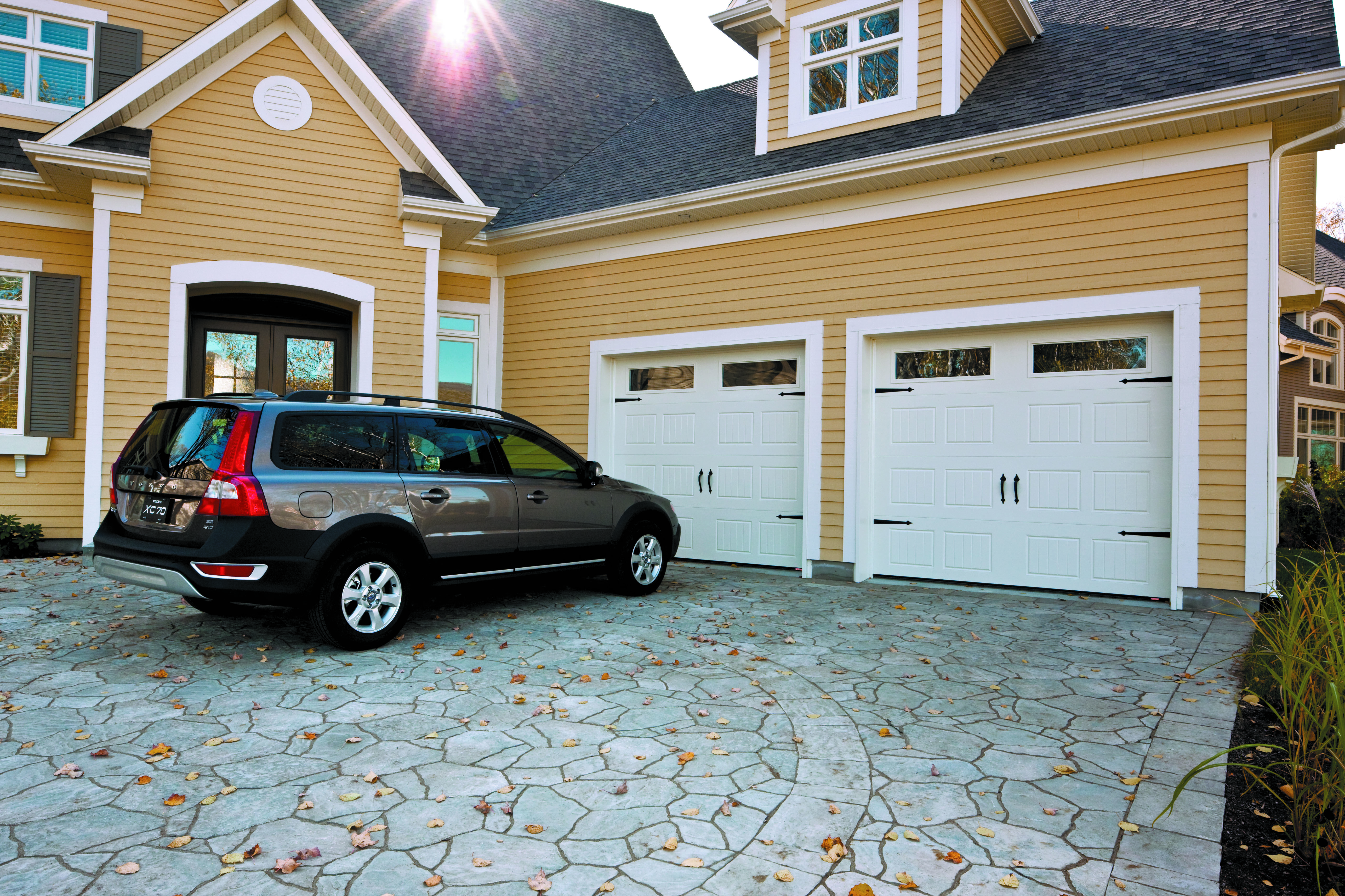 x carriage two glass arched installed pin with by overlay stockton top doors style model garage door