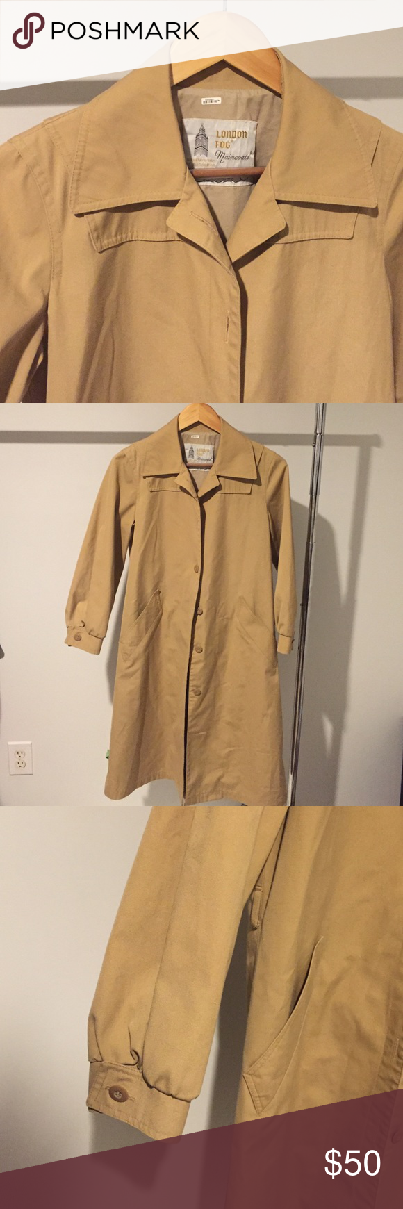 "Feminine London Fog Trench Coat Feminine Vintage London Fog Coat. Size 4 Petite. In good condition. Approx 39 1/2 "" from shoulder to hem. London Fog Jackets & Coats Trench Coats"