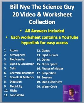 Bill Nye Video Worksheets - 20 Complete Video Companion ...