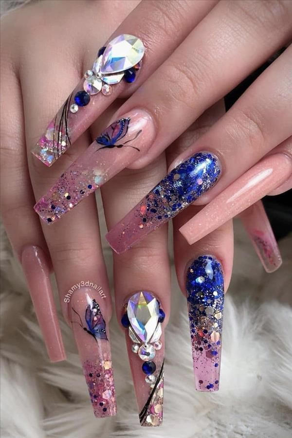 Natural acrylic rhinestone coffin nails design you cannot miss - Fashion Girl'S Blog