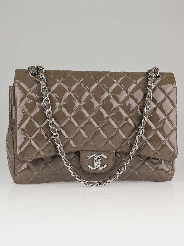 Chanel Grey Quilted Patent Leather Classic Maxi Double Flap Bag Used Chanel Bags Chanel Bag Chanel