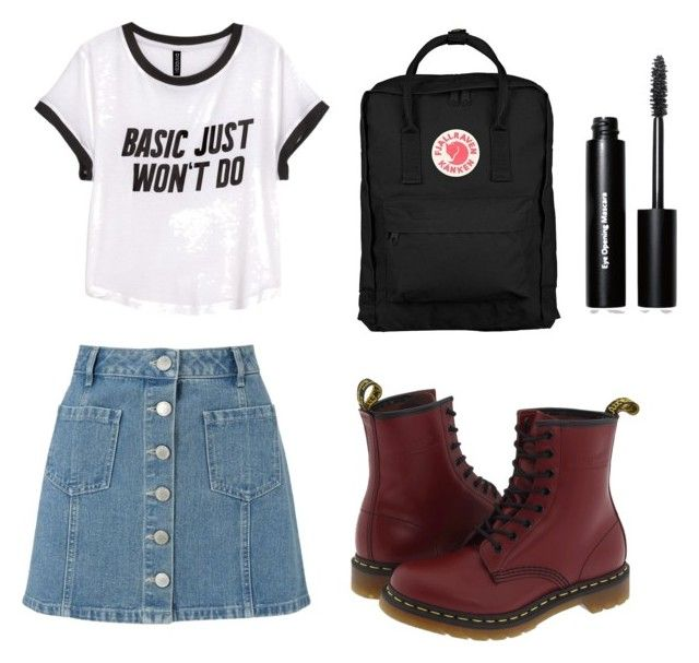 """""""Cool spring day"""" by pemacdorjee ❤ liked on Polyvore featuring Miss Selfridge, H&M, Fjällräven, Dr. Martens and Bobbi Brown Cosmetics"""