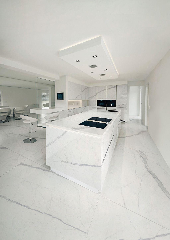 Maxfine extra white large format porcelain tiles kitchen floor