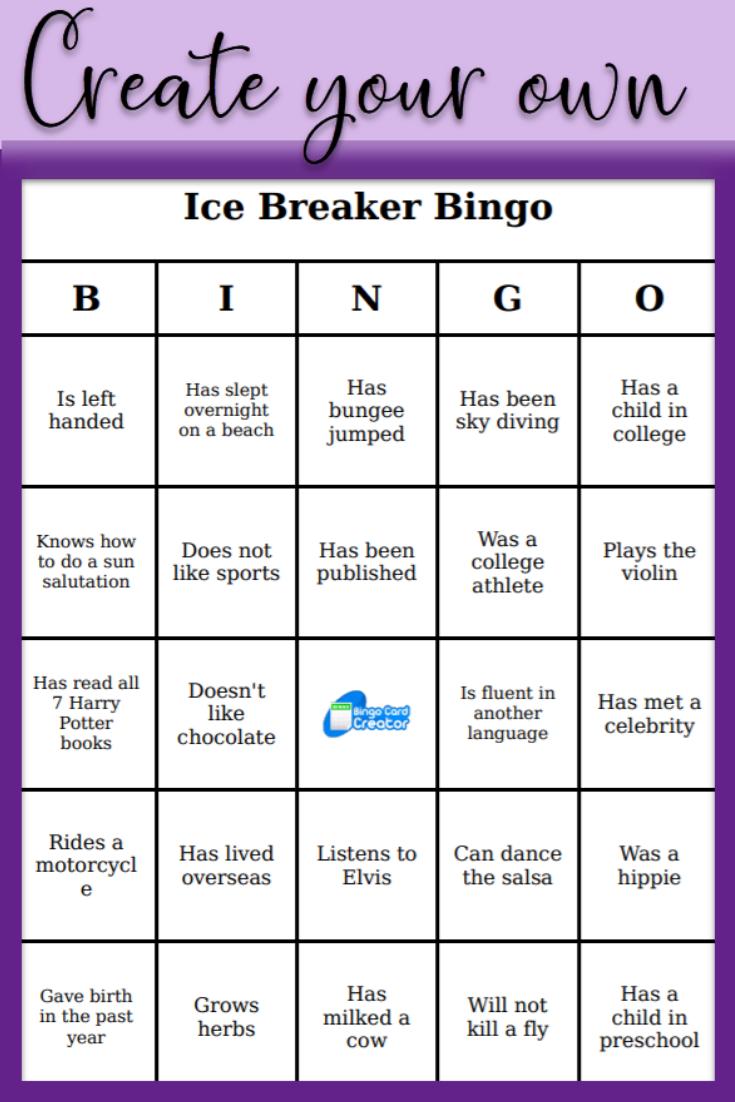Create Your Own Bingo Bingo Card Generator Icebreaker Activities Bingo Card Template