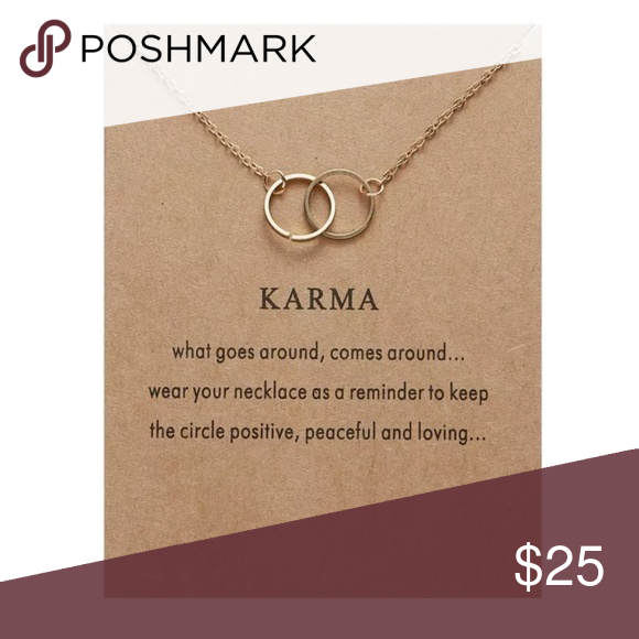 6249f2e38 DOUBLE CIRCLE KARMA MEANING CHOKER This necklace is 2 gold circles  intertwined together on a gold choker chain.KARMA has a great deal of  meaning to me & so ...
